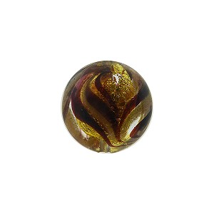 Murano Glass Bead Disc 14mm Gold Foil with Aventurina Sash