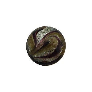 Murano Glass Bead Disc 14mm White Gold Foil with Aventurina Sash