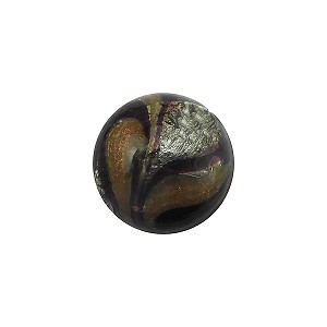 Murano Glass Bead Disc 14mm Gray Gold Foil with Aventurina Sash