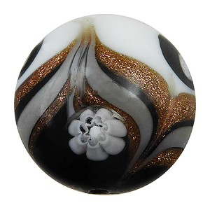 Avventurina Swirls with Millefiori over White and Black Disc 16, Murano Glass Bead