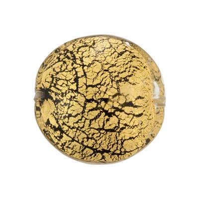 Murano Glass Beads Ca'd'Oro Disc 20mm Black Cracked Gold