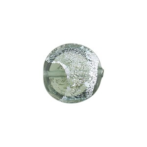 Gray Silver Sparklers Dichroic Murano Glass Disc Bead, 14mm