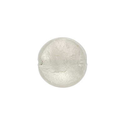Clear White Gold Foil Puffy Disc, 10mm, Murano Glass Bead