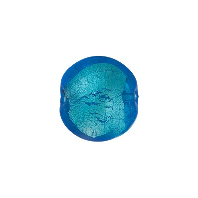 Aqua White Gold Foil Puffy Disc, 10mm, Murano Glass Bead
