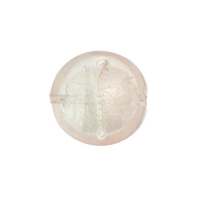 Murano Glass Bead, Bicolor Disc 15mm White Gold Pink & Pale Pink