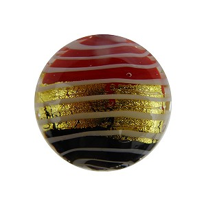 Black and Coral Filigrana with  24kt Gold Foil Stripe Disc 18mm Murano Glass Bead