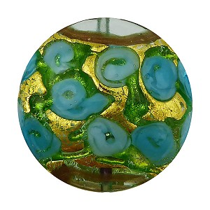 Murano Glass Bead Bed of Roses Exterior Gold Foil Disc 24mm Aquamarine