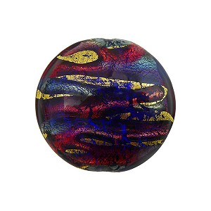 Blue and Rubino Exterior Gold Disc 20mm, Murano Glass Bead