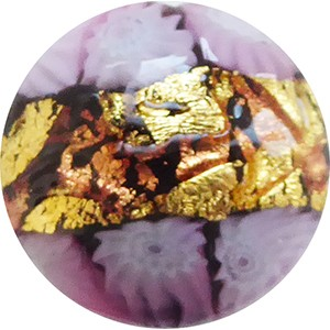 Venetian Glass Lace Bead Black Base, Pink Lace Murrine, Exterior 24kt Gold Foil Disc 16mm