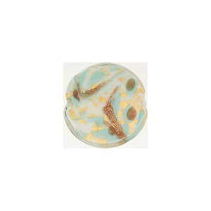 Turquoise Marbled Murano Glass Disc, Gold Foil, 12mm
