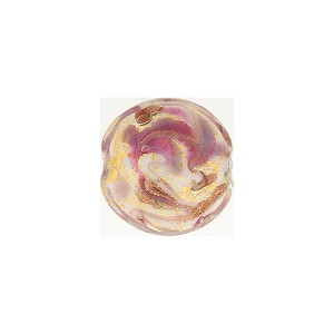 Viola Marbled Murano Glass Bead Disc, Gold Foil, 12mm