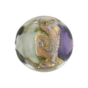 Plum and Gray with Aventurina and 24kt Gold Foil Mare Disc 20mm Murano Glass Bead