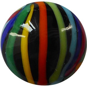 Missoni Multi Colored Ribbons Disc 16mm with Black Base Murano Glass Bead