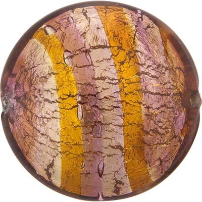 Topaz Amethyst Silver Missoni Discs Puffy 34mm Murano Glass Bead