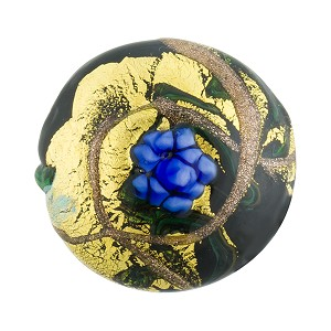 Murano Glass Bead Peony Lampwork Disc 23mm Black and Blue with 24kt Gold Foil