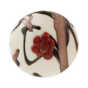 Murano Glass Bead Peony Lampwork Disc 23mm White and Red