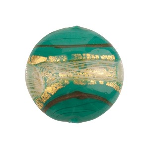 Disc 20mm Verde Petrolio, Green with Reticello and 24kt Gold Foil Murano Glass Bead