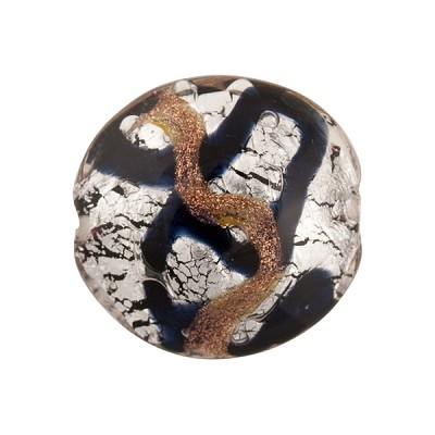 Black and Aventurina Silver Foil Sospire, 20mm Disc, Murano Glass Bead