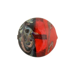 Tricolore Aventurina Murano Glass Bead-Disc Red, Orange and Black