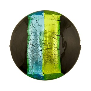 Tricolore Silver Foil Murano Glass Bead-Aqua, Green & Black, 23mm Disc
