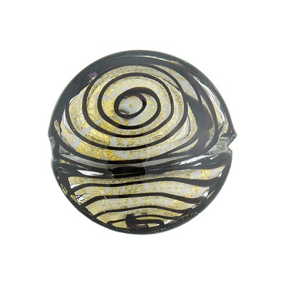 Black & 24kt Gold Filigrana Disc 20mm Lampwork Murano Glass Bead