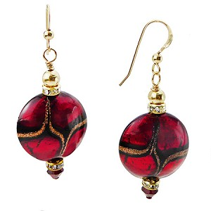Murano Glass Red Disc and Aventurina with Gold Fill Ear Wires and Swarovski Crystal