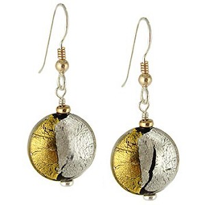 Pezzi, Half Gold Half Silver Murano Glass Earrings Sterling Silver Ear Wires