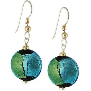 Pezzi, Aqua over Gold and Silver Murano Glass Earrings Sterling Silver Ear Wires