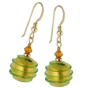 Spirale Earrings - Green Spirals over 24kt Gold Foil Murano Glass Beads, Gold fill Ear Wires