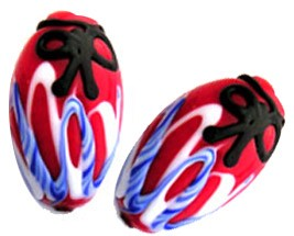 Red, Blue, & Black Lampwork Decorative Oval Murano Glass Bead Bead