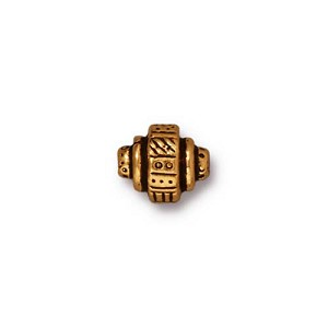 22kt Gold Plated Ethnic Barrel Bead, 9mm, Antique