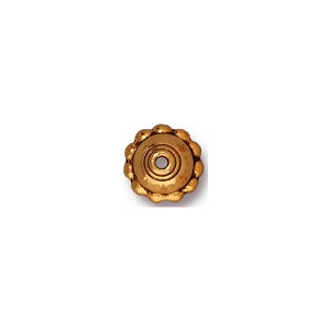 22kt Gold Plated Beaded Beadcap, 8mm, Antique Finish