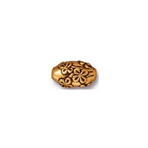 Antique Gold Oval Rose Bead, 10mm