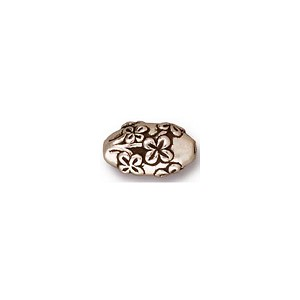 Antique Silver Oval Rose Bead, 10mm