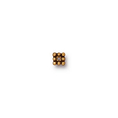 Antique 22kt Gold Plated Square Heishi 3.5mm