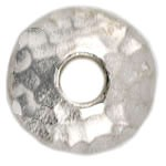TierraCast Hammered Beadcap, Rhodium Plated, 10mm, 2.5mm Hole