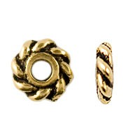 TierraCast 4mm Twisted Spacer Bead, 22kt Gold Plated, Antique Finish