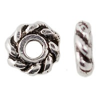TierraCast 4mm Twisted Spacer Bead, Silver Plated, Antique Finish