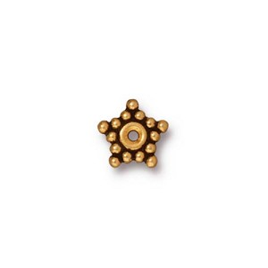 7mm Antique 22kt Gold Plated Star Shaped Spacer Bead