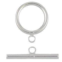 Sterling Silver Round Toggle, 20mm, Per Piece