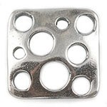 Square Sterling Silver Link w/Hole Pattern, 9mm