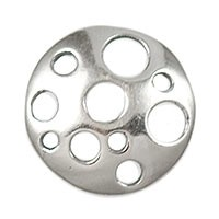 Sterling Silver Round Link w/Hole Pattern, Per Piece, 11.8mm