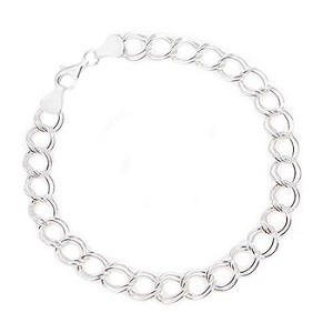 Sterling Silver Double Link Charm Bracelet 7 Inches