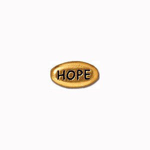 Antiqued 22kt Gold Plated Pewter Bead Inspirational, Hope, TierraCast