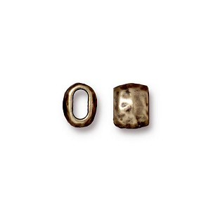 Brass Oxidized Pewter Barrell Bead, 7mm TierraCast