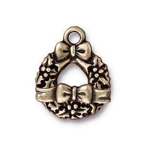 Toggle Clasp Set Wreath and Bow, Brass Oxide Pewter