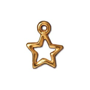 Open Star Charm, Bright 22kt Gold Plated Pewter 10.75mm
