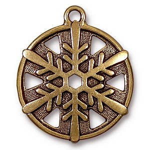 Snowflake Pendant 1 Inch Antiqued Gold Plated Pewter