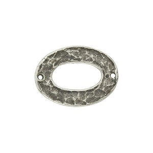Oval Hammer Tone Pewter Link, Silver Plated, Antique Finish, 21mm x 15mm