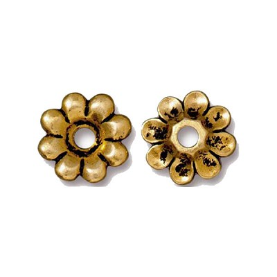 TierraCast Rivetable Flower Petals, 22kt Bright Gold Plated Pewter 11mm